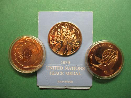 3 United Nations Peace Medals.  1971, 1972, and 1979.  Item: MD UN-01.