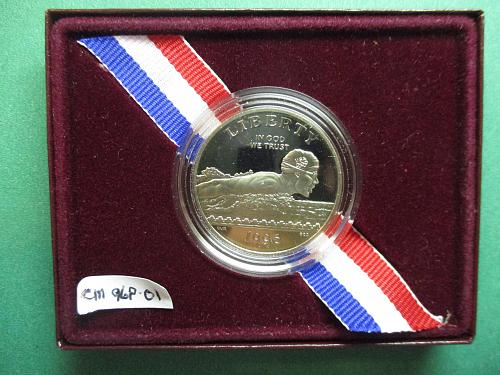 1996-S Olympic Swimming Clad Half Dollar Proof.  Atlanta Olympics.  Item: CM 96S