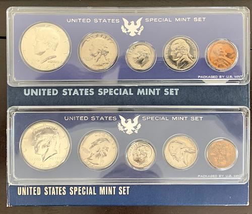 "1966 & 1967 Original Government Packaged ""Special Mint Set"" 40% Silver FV$.9"