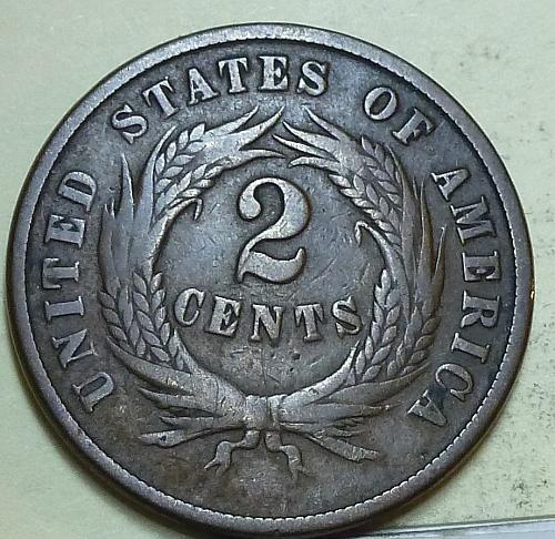 1865 Two Cent Piece in Very Good condition. ((W-103) _