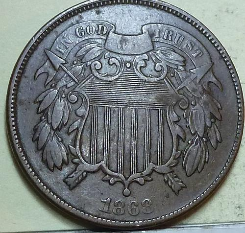 1868 Two Cent Piece in VERY FINE condition. ((W-109) _