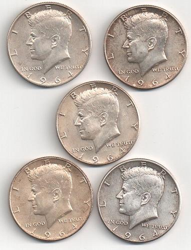 Five 1964 Kennedy Half Dollar 90% Silver 50 Cents