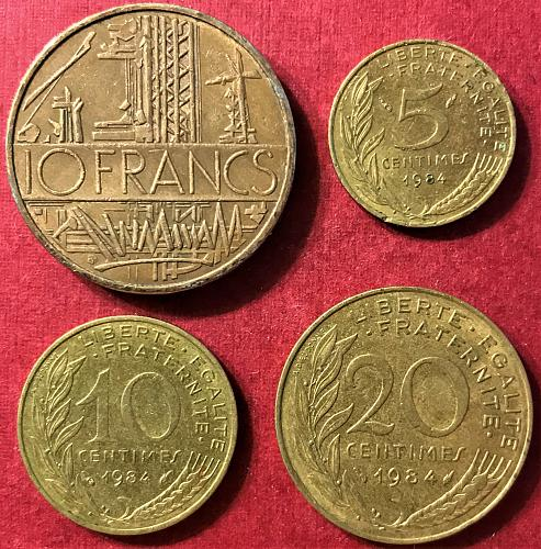 France 1984 - 10 Francs; 5, 10 and 20 Centimes