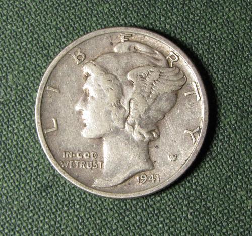 1941P Mercury Silver Dime