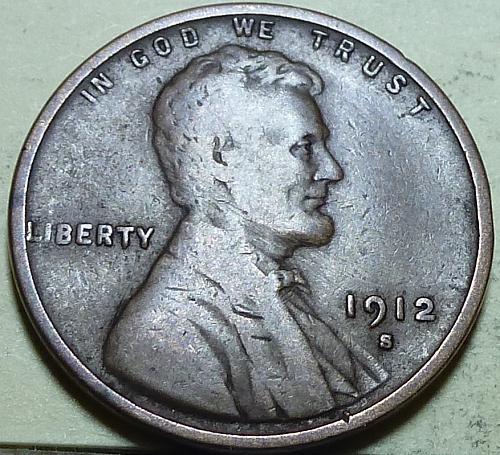 1912-S VF Lincoln Wheat Cent Very Fine ( B-109 )