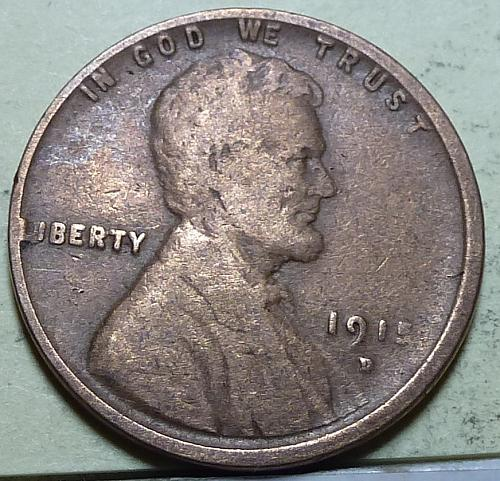 1915-D  VG Lincoln Wheat Cent VERY GOOD  B-110 )