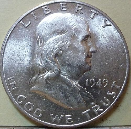 1949-S AU Franklin Half Dollar About Uncirculated ( S-109 )