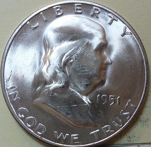 1951-S Gem BU Franklin Half Dollar ( S-122)