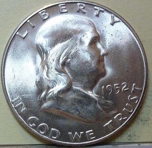 1952-S Gem BU Franklin Half Dollar with full bell lines( S-108)