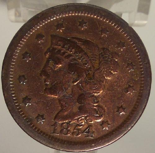 1854 Large Cent Braided Hair VF Details #0861