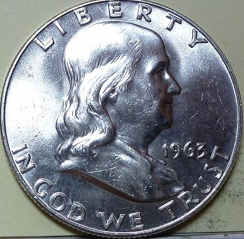 1963-D Gem BU Franklin Half Dollar With Full Bell Lines ( S-117)