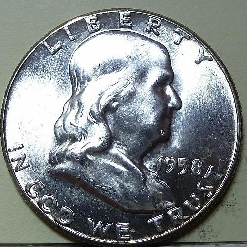 1958-P Gem BU Franklin Half Dollar With Full Bell Lines ( S-101)