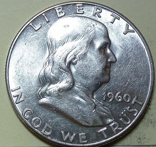 1960-P AU Franklin Half Dollar About Uncirculated ( S-115 )