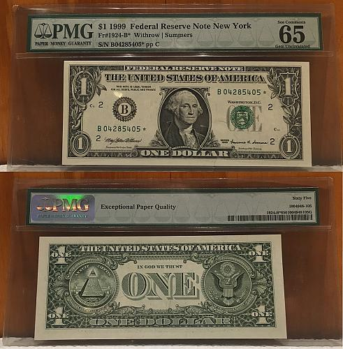 $1 1999 Small Size Federal Reserve Note New York