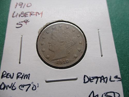 1910 AU50 Details Liberty Nickel.  Item: 5 L10-01.