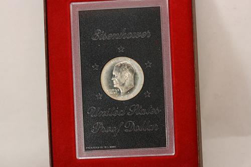 1974 S Eisenhower Proof Dollar 40% Silver Mint Plastic Holder Brown Box