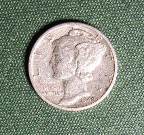 1942D Mercury silver Dime