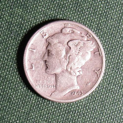1943P Mercury Silver Dime