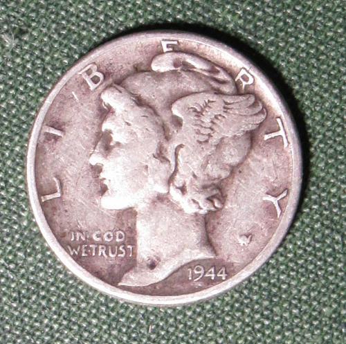 1944P Mercury Silver Dime