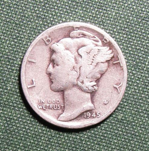 1945S Mercury Silver Dime