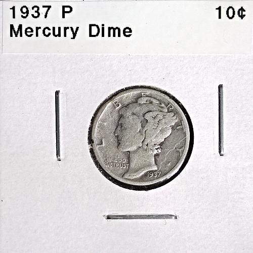 1937 P Mercury Dime - 4 Photos!