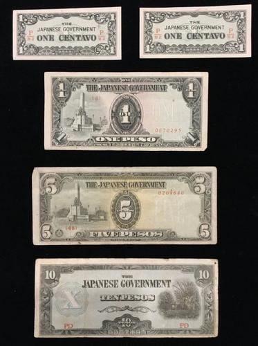 Japanese occupation paper money used in the Philippines WWII (5 all different no