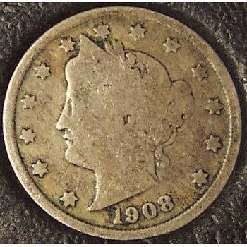 "1908 Liberty ""V"" Nickel G4 #0965"