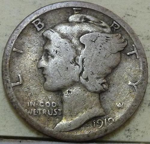 1919-D Mercury Dime  VERY GOOD ( A-113)