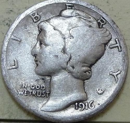 1916-P Mercury Dime  VERY GOOD ( T-122)