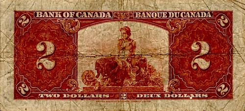 1937 BANK OF CANADA TWO DOLLAR BANKNOTE