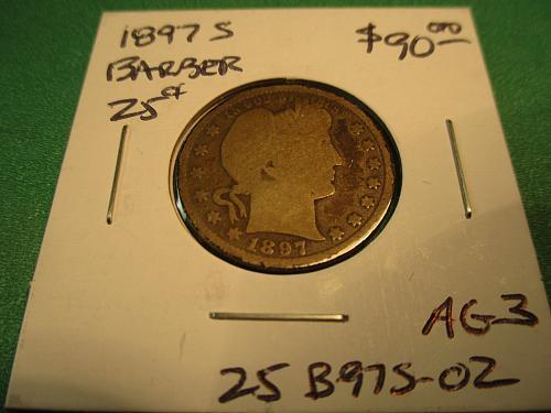 1897-S AG3 Barber Quarter.  Item: 25 B97S-02.
