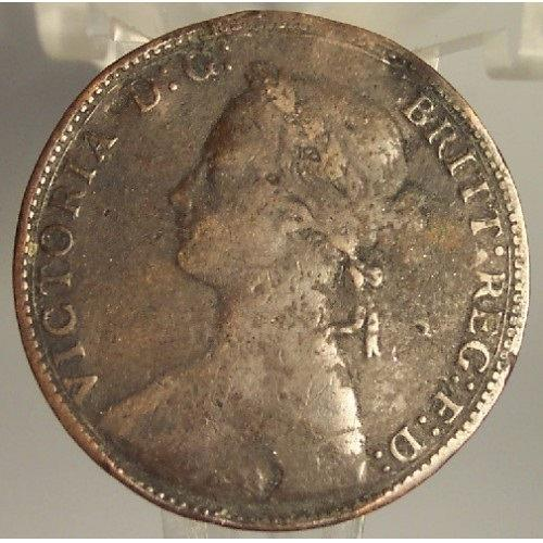 KM #754 Great Britain 1875 Half Penny Fine Details #0966