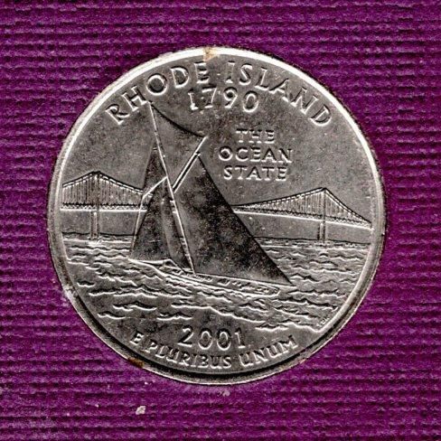 2001 D Rhode Island 50 States and Territories Quarters  -2