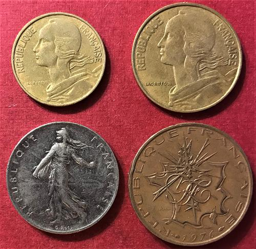 France 1976 - 10 and 1 Francs; 20 and 10 Centimes