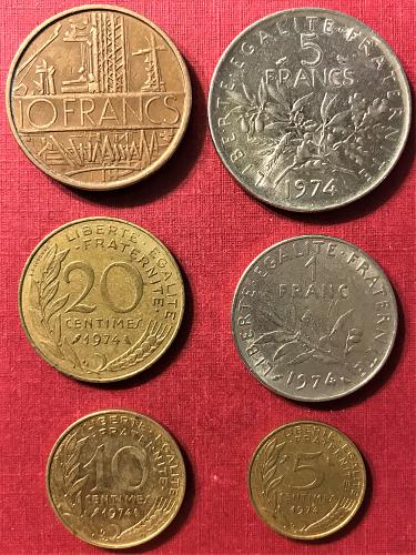 France 1974 - 10, 5 and 1 Francs; 20, 10 and 5 Centimes