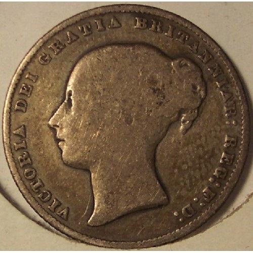 KM #734.3 Great Britain 1866 Silver Shilling #0984