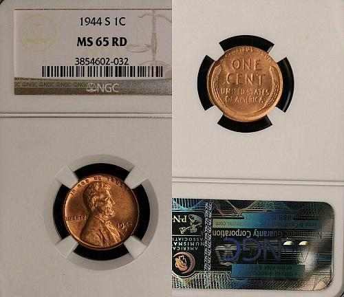 1944-S LINCOLN WHEAT CENT - NGC MS 65 RD - BRILLIANT UNCIRCULATED!!