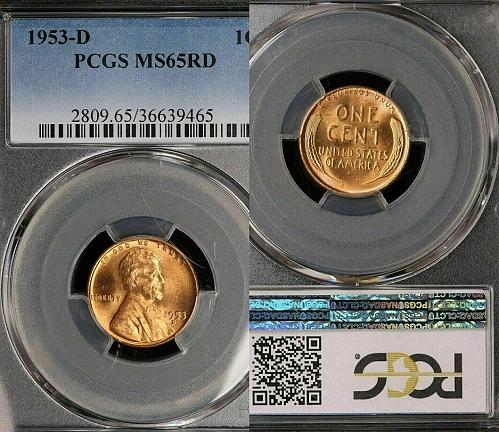 1953-D LINCOLN WHEAT CENT- PCGS-MS65RD !! BRILLIANT UNCIRCULATED !!