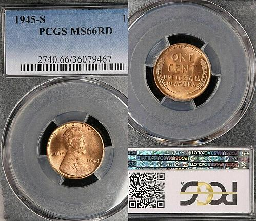 1945-S LINCOLN WHEAT CENT - PCGS MS66RD - BRILLIANT UNCIRCULATED!!