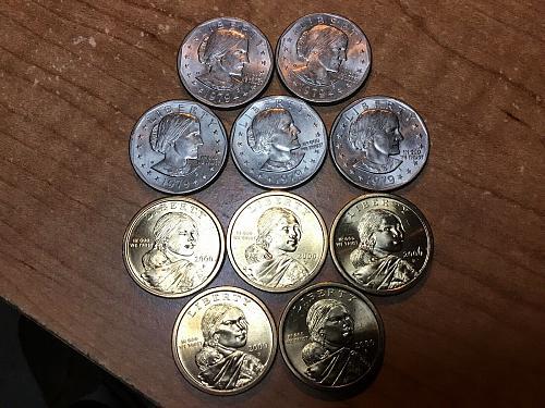 2000P Gold Sacagawea dollars & 1979 Susan B Anthony dollars Lot Of 10 Coins