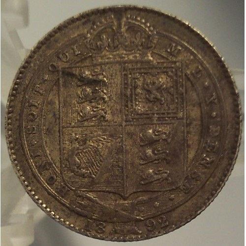 KM #774 Great Britain 1892 Silver Shilling AU Details #0994