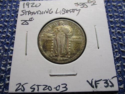 1920  VF35 Standing Liberty Quarter.  Item: 25 ST20-03.