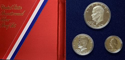 1776-1976 S Three coin proof set. All 40% Silver Coins JPS761