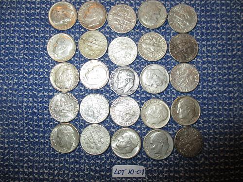 25  90% Silver Roosevelt Dimes.  Item: Lot 10-01