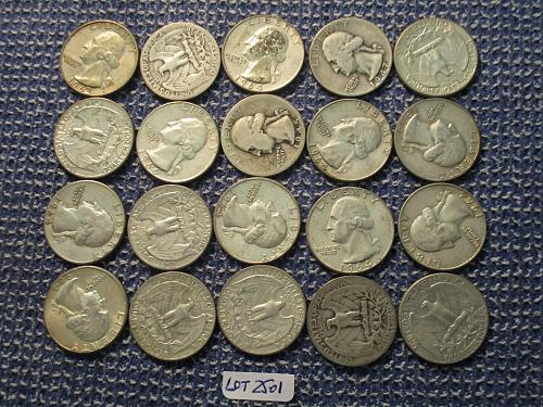 20  90% Silver Washington Quarters.  Randomly Selected.  Item: Lot 25-01