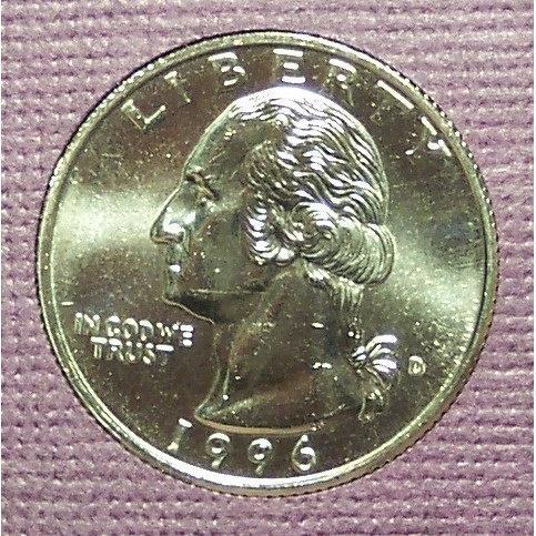 1996-D Washington Quarter BU #01027