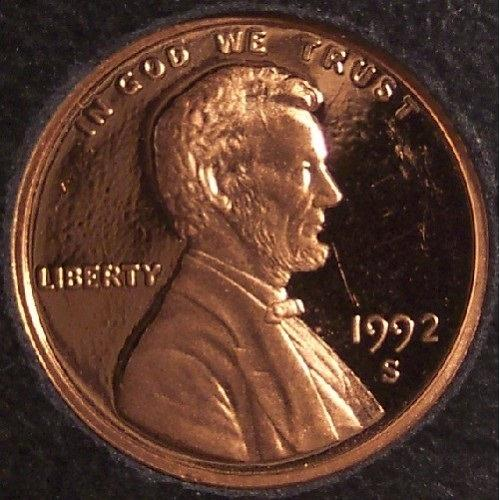 1992-S Deep Cameo Proof Lincoln Memorial Penny #01029