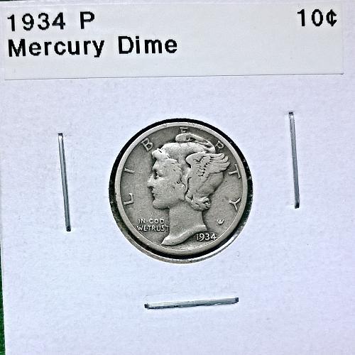 1934 P Mercury Dime - 4 Photos!