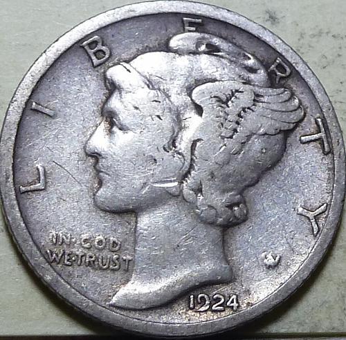 1924-S VERY Fine  Mercury Dime  VF ( A126 )