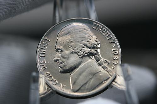 1989 D  Jefferson Nickel . HIGH MS Full Steps